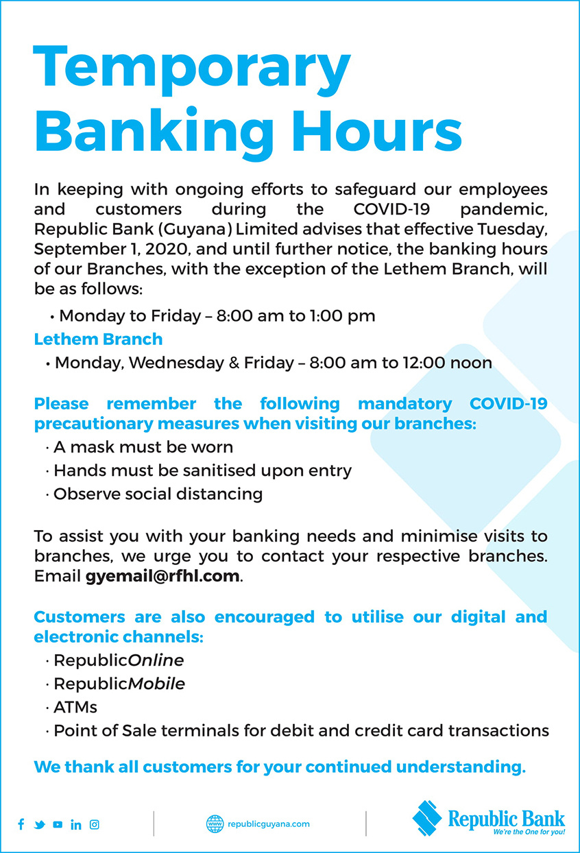 Temporary Banking Hours Republic Bank