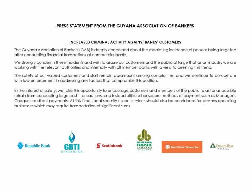 Press statement from the guyana association of bankers republic bank you are here thecheapjerseys Gallery