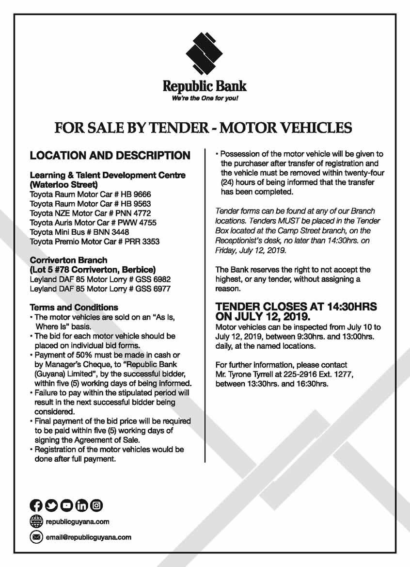For Sale By Tender-Motor Vehicles | Republic Bank