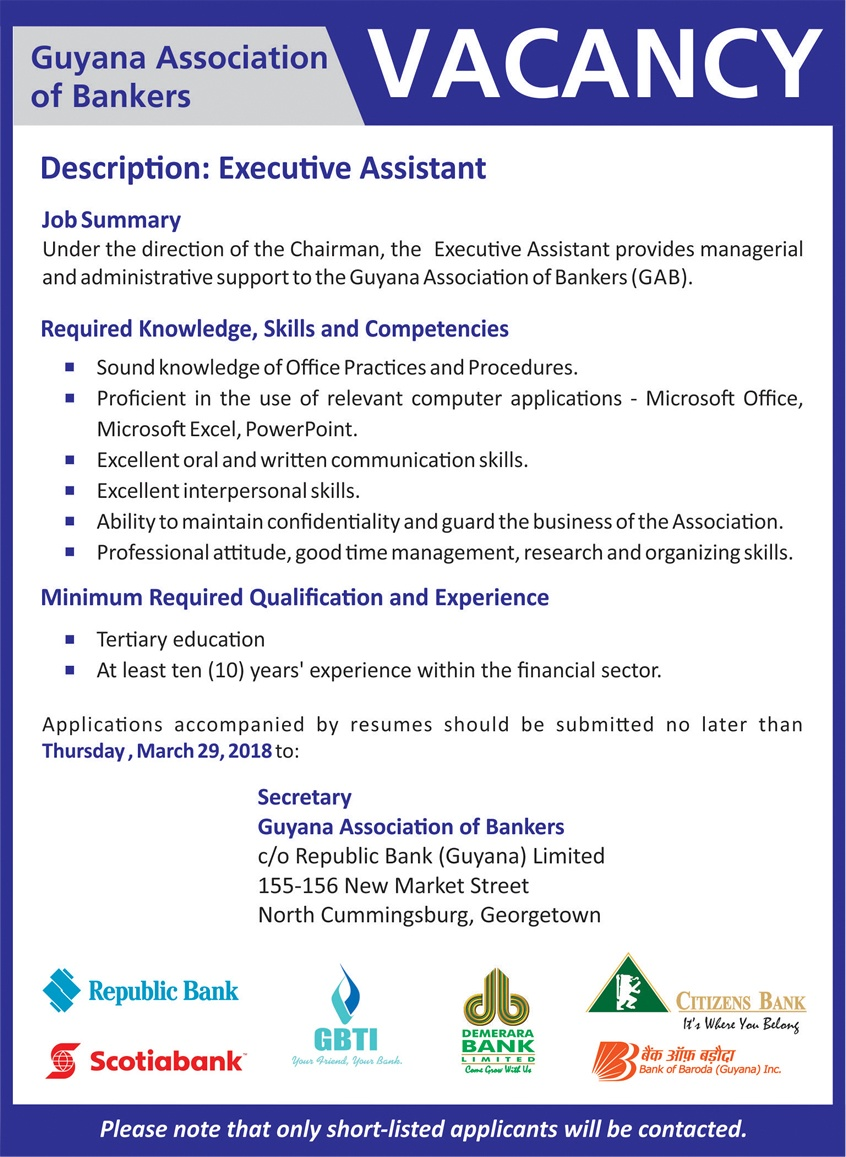 Vacancy Republic Bank